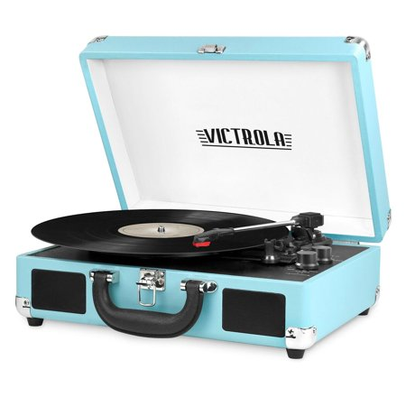 Victrola Bluetooth Portable Suitcase Record Player with 3-speed Turntable, Turquoise (Record Player Jukebox)