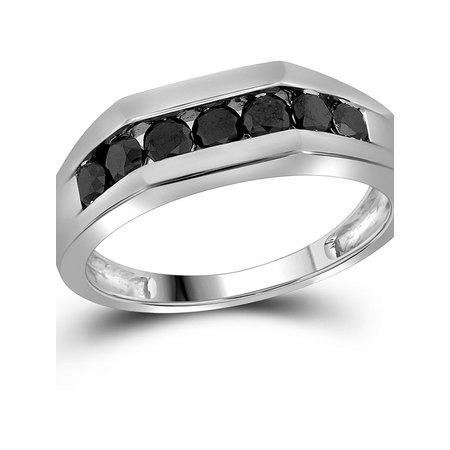 10kt White Gold Mens Round Black Color Enhanced Diamond Wedding Band Ring 1.00 Cttw