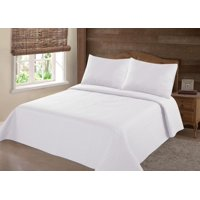 PERSIAN EYGYPTION COLLECTION KING NENA WHITE SOLID CLOSOUT QUILT BEDDING BEDSPREAD COVERLET PILLOW CASES SET