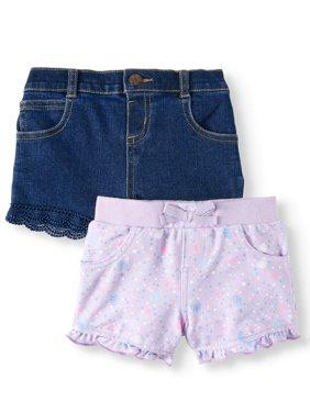 Print Knit Denim & Twill or Denim Shorts, 2pc Multi-Pack (Baby Girls)
