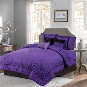 e21e38d746a Empire Home 7 Piece Nadia Purple King Size Oversized Elegant Comforter Set  - Royalty Design