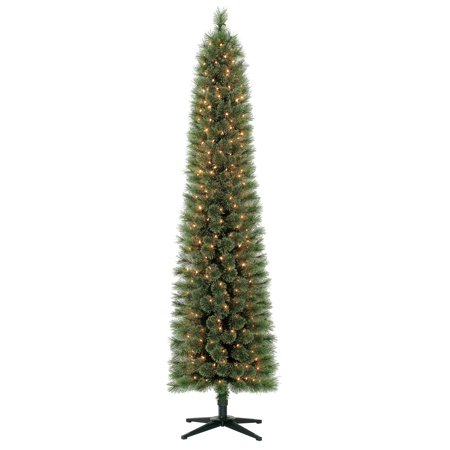 Holiday Time 7ft Pre-Lit Pencil Shelton Cashmere Fir Artificial Christmas Tree with 300 Clear Lights - Green