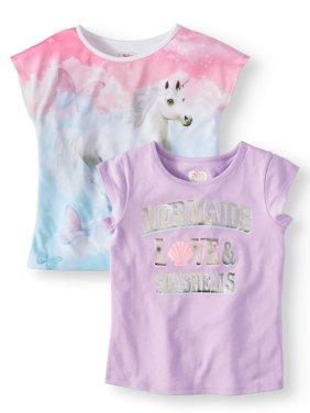 Short Sleeve Graphic Tees, 2-Pack (Little Girls & Big Girls)