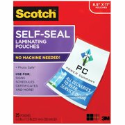 Scotch Self-Sealing Laminating Pouches, 25 Sheets, 9.0 in x 11.5 in, Gloss Finish