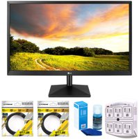 """LG 27"""" Class IPS LED Monitor with FreeSync 2018 Model (27MK400H-B) with 2x 6ft High Speed HDMI Cable, Universal Screen Cleaner for LED TVs & SurgePro 6 NT 750 Joule 6-Outlet Surge Adapter"""
