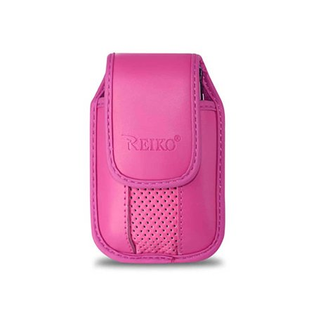 Pink Leather vertical pinch clip case with magnetic snap fits LG Exalt, Wine 3.