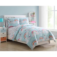 VCNY Home Light Blue Unicorn Rainbow Daydreaming Kids Reversible Bed-in-a-Bag Set, Printed Sheet Set Included