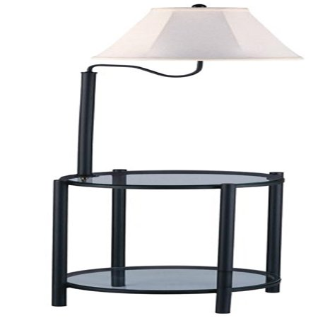 Mainstays Transitional Glass End Table Lamp, Matte Black ()