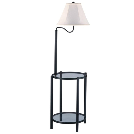 Mainstays Transitional Glass End Table Lamp, Matte Black