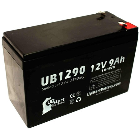 Compatible Dyonics SURGICAL PWR UNITS Battery - Replacement UB1290 Universal Sealed Lead Acid Battery (12V, 9Ah, 9000mAh, F1 Terminal, AGM, SLA) - Includes TWO F1 to F2 Terminal Adapters