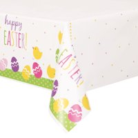 Cute Easter Plastic Tablecloth, 84 x 54 in, 1ct