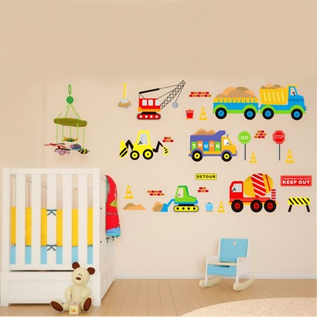 Grtsunsea Removable Wall Sticker Transport Truck Digger Car Art Decal Kids Children Room Nursery (Cars Removable Wall)
