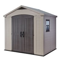 Keter Factor 8' x 6' Resin Storage Shed, All-Weather Plastic Outdoor Storage, Beige/Taupe