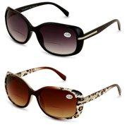 1facd09de982 2 Pairs Women's Bifocals Reading Sunglasses Reader Glasses Vintage Outdoor  Black and Leopard