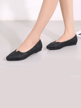FLORATA Womens Ballet Casual Flats Shoes Pointed Toe Loafers Boat Shoes Black