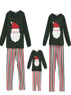 Family Matching Pajamas Set Santa Claus Tops and Stripes Long Pants Sleepwear for Family Christmas Holiday PJs