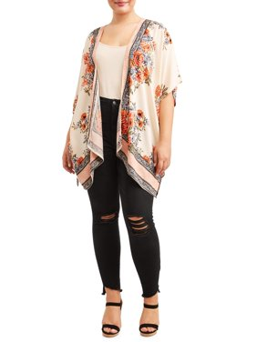 Women's Plus Size Kimono with Ladder Lace