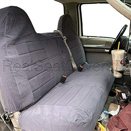 3 Layer Seat Covers for F23 Ford F150 F250 F350 F450 F550 1992 - 2010 Full Size Bench Seat Cover Molded Headrest Fitted (Dark Gray) - Ford F250 Seat