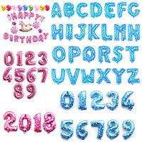 "CUH 16"" 40cm Foil Balloons Blue Pink Letters Numbers Heart Helium Alphabet Balloon Birthday Party Decorations Wedding Christmas Graduation New Year Eve Banner Supplies"