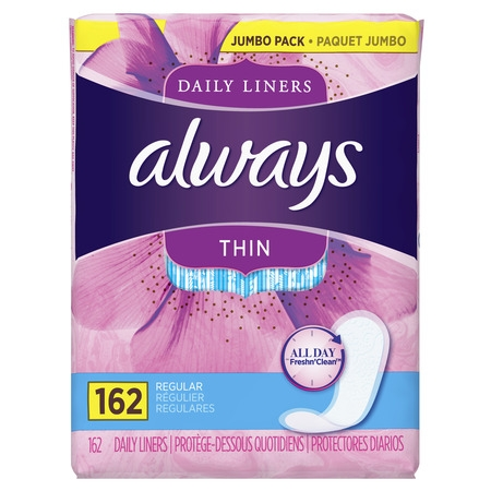 Thin Pad (Always Thin Daily Liners, Unscented, Wrapped, Regular, 162)