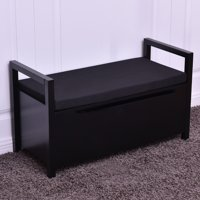 Costway Shoe Bench Storage Rack Cushion Seat Ottoman Bedroom Hallway Entryway Black