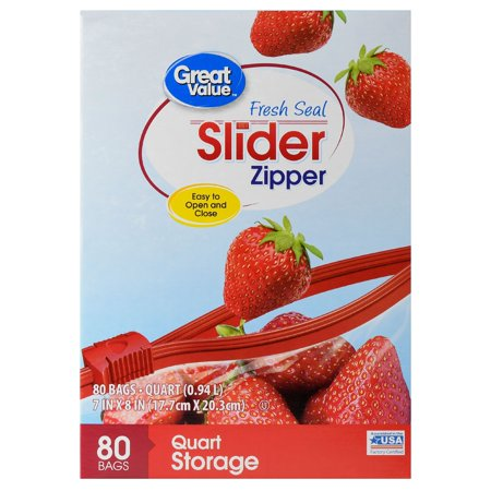 Great Value Slider Zipper Storage Bags, Quart, 80 - Zipper Quart