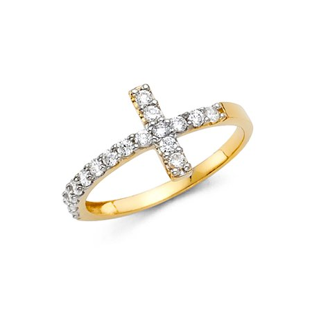Jewels By Lux14K Gold Y Side Way Cubic Zirconia CZ Cross Fashion Anniversary Ring Size 5.5