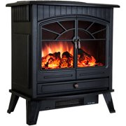 """AKDY FP0033 23"""" 1500W Freestanding Electric Fireplace Stove Heater with Vintage Glass Door, Realistic Flame and Logs, Black"""