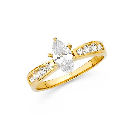 Jewels By Lux 14K Yellow Gold Marquise Shaped Cubic Zirconia CZ Engagement Ring Size (Gold Marquise Gemstone)