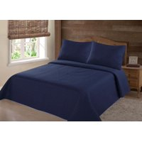 PERSIAN EYGYPTION COLLECTION KING NENA NAVY BLUE  SOLID CLOSOUT QUILT BEDDING BEDSPREAD COVERLET PILLOW CASES SET