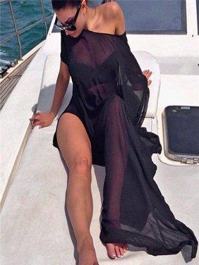 Women Bikini Cover Up Swimsuit Swimwear Beach Shirt Dress Bathing Suit BK/L