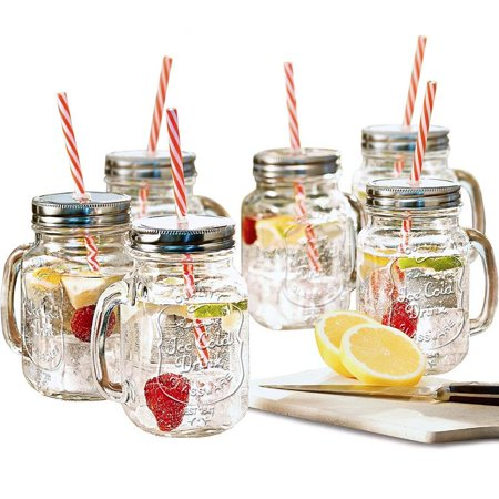 Estilo Mason Jar Mugs with Handle and Straws Old Fashioned Drinking Glass Set 6, 16 oz - Glow In The Dark Drinking Glasses