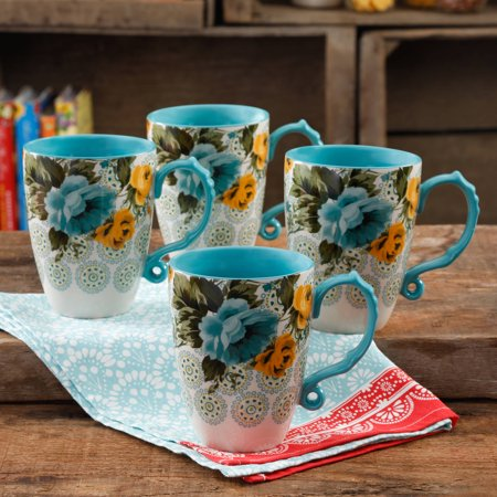 The Pioneer Woman Rose Shadow Jumbo 26-Ounce Latte Mug Set, Set of (Open Rose Cup)