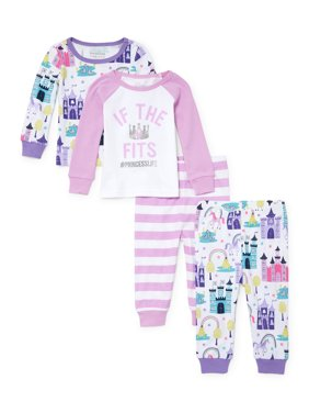 Long Sleeve Tight Fit Pajamas, 4-piece Set (Baby Girls & Toddler Girls)