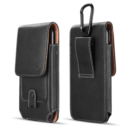 Luxmo Vertical Series Phone Holder Compatible with Nokia 2V (Verizon) - PU Leather Belt Holster Pouch Case with Inner Card Slots and Atom Cloth -
