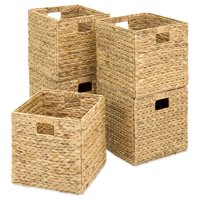 Best Choice Products Set of 5 Foldable Handmade Hyacinth Storage Baskets w/ Iron Wire Frame - Natural