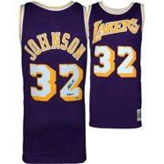 31adcdff9 Magic Johnson Los Angeles Lakers Autographed Purple Mitchell   Ness  Hardwood Classics Swingman Jersey with