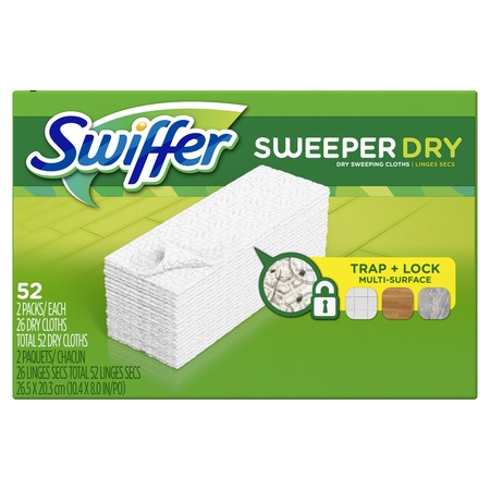 Swiffer Sweeper Dry Sweeping Pad, Multi Surface Refills for Dusters Floor Mop, 52 -