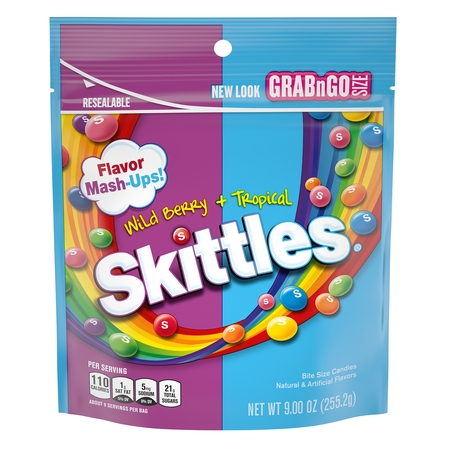 Skittles Flavor Mash-Ups Wild Berry and Tropical Candy, 9 Ounce](Skittles Puns)