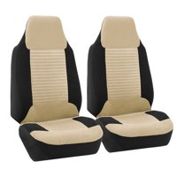 FH Group Premium Fabric Front High Back Car Truck SUV Bucket Seat Cover Airbag Compatible, Pair, Beige and Black