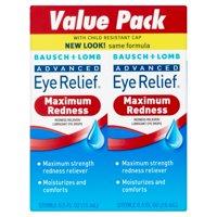 Bausch & Lomb Advanced Eye Relief Redness Eye Drops, 0.50 fl oz, twin pack