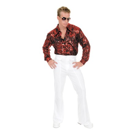 Halloween Flame Hologram Disco Shirt - Red](Halloween Holograms)