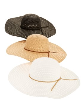 Time and Tru Women's Straw Floppy Hat 3-pack