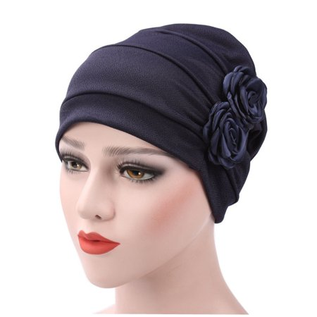 Turban Hat Stylish Flowers Chemo Beanie Turban Headwear Chemo Cap Head Cover Wrap for Women