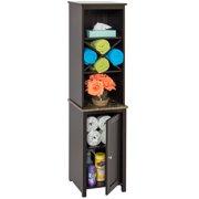 Best Choice Products Wooden Bathroom Space Saving Standing Tall Floor Tower Storage Cabinet Organizer w/ Faux-Slate Adjustable Shelves - Brown