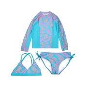 6dd880882647b Long Sleeve Rashguard and Bikini Swimsuit, 3-Piece Set (Little Girls & Big