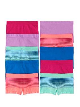 Wonder Nation Girls Seamless Boyshort Panty, 10 pack