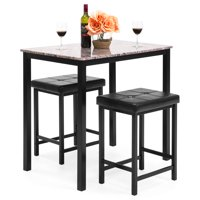 Best Choice Products Kitchen Marble Table Dining Set w/ 2 Counter Height Stools (Brown)