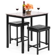 Best Choice Products Kitchen Marble Table Dining Set W 2 Counter Height Stools Brown