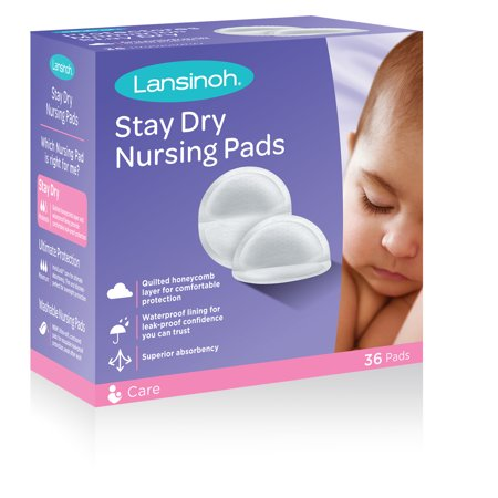 Lansinoh Stay Dry Disposable Nursing Pads, 36